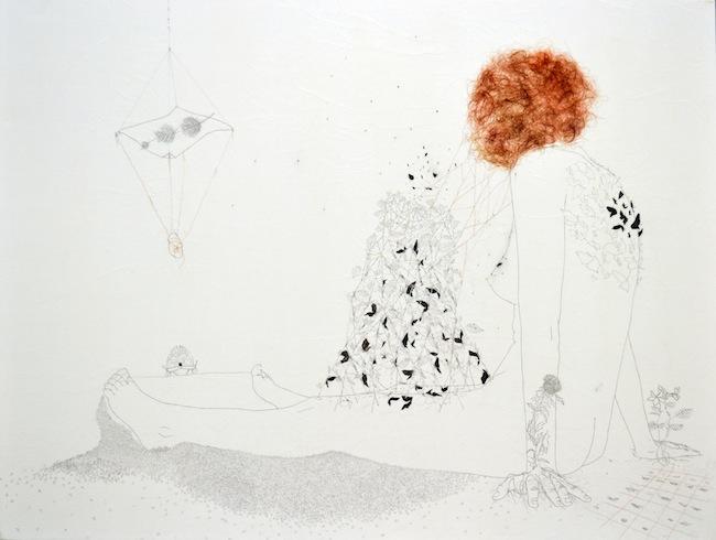 Tamara Ferioli-Epifania del fuoco|spazio temporale-2012-matite, capelli e acquerelli su carta giapponese intelata-90x120cm