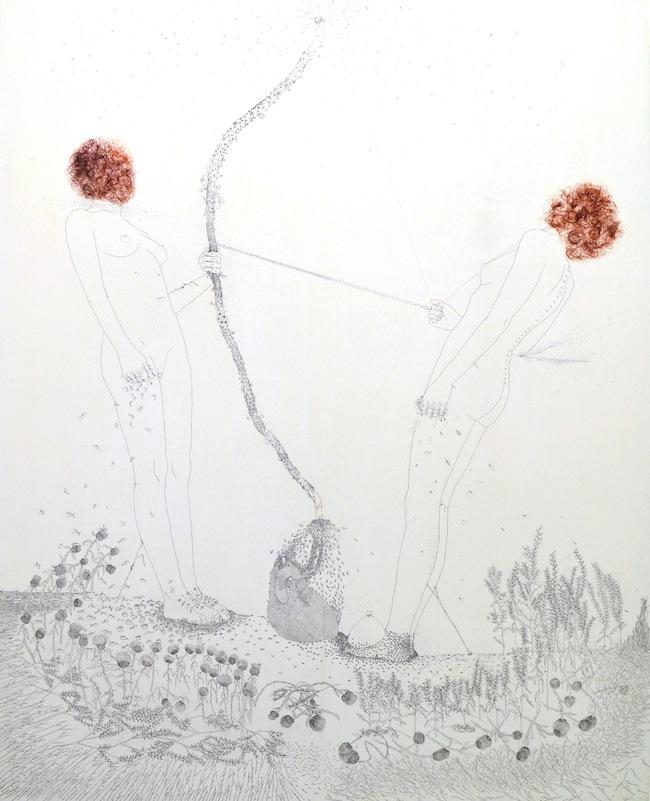 Tamara Ferioli-Impermanenza dei rapporti lineari-2013-matite, pastelli e capelli su carta giapponese intelata-200x160cm