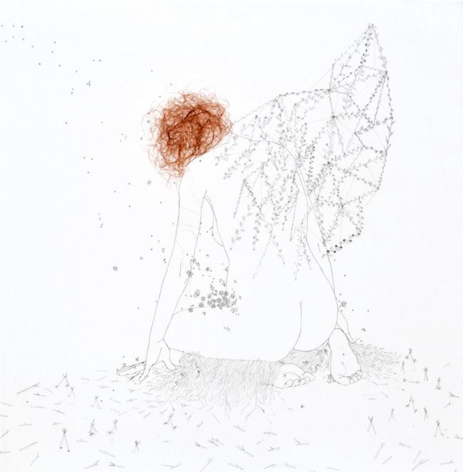 Tamara Ferioli-Un ventaglio era già una piccola ala-matite e capelli su carta giapponese intelata-2012