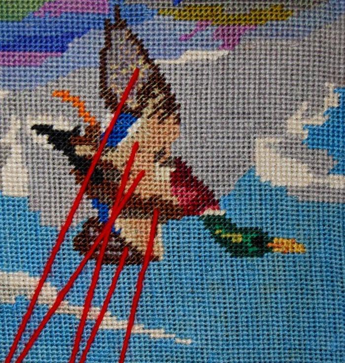 A Singer. detail diptych - Bird shot, 2013. Wool tapestry. (2)