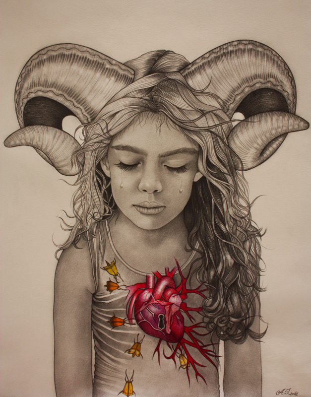 Crying Aries_40x29 cm - graphite and pastel on paper