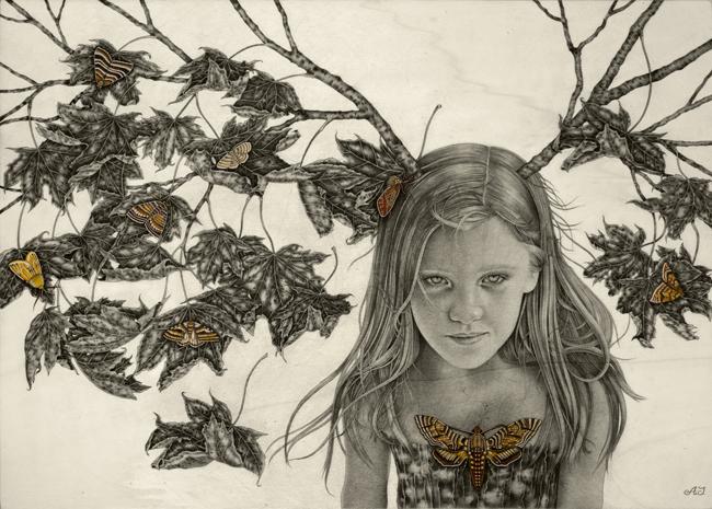 """Sophia""_50x70 cm_graphite,watercolor,ink on wood_2012."