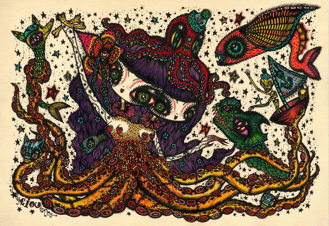 Ciou_KochxBosGallery_octopus-siamesetwins-symdrom26x21cm