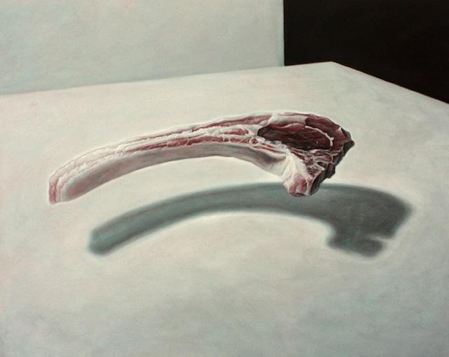 Albert Guasch - ASSAIG PER A UN COS. Acrylic on plywood (table), 47,5 x 60 cm (2011)