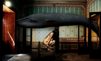 "Fernanda Veron ""A whale came to me and told me a secret"" (mix media)"